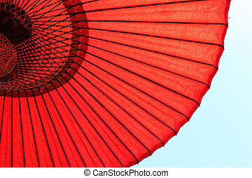Red Japanese Umbrella - Design underneath the red Japanese...