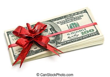 Money for gift - Money tied red ribbon for gift
