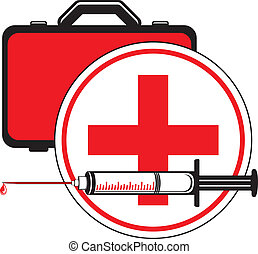Medical syringe and first aid kit. Icon for design. Vector...