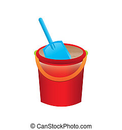 sand bucket over white background vector illustration