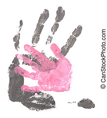 Handprint - Men and child handprints made from black and...