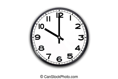 10 o'clock - a black and white clock showing one hour