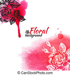 Floral watercolor background. Hand drawn rose illustrations