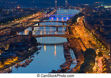 Aerial view on Rouen at night