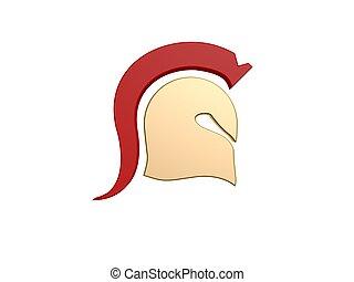 roman worrier helmet symbol isolated on white background