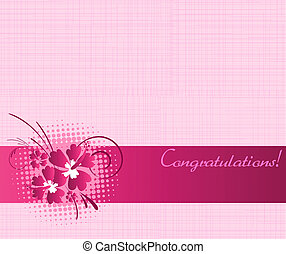 Congratulation card with hibiscus flowers - Pink...