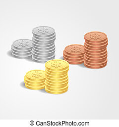 Vector illustration stacks of coins - Vector illustration...