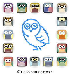 Vector set of owl icons
