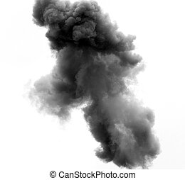 black cloud caused by an explosion of a bomb in the sky -...
