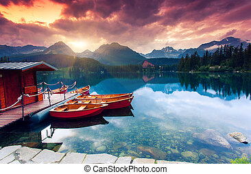 lake - Mountain lake in National Park High Tatra. Dramatic...