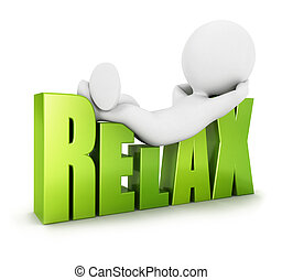 3d white people relax, isolated white background, 3d image