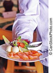 Salmon dish in restaurant