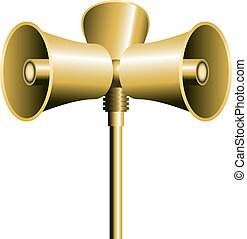 Loudspeaker Horn - Three loudspeaker or sirens on a pole....