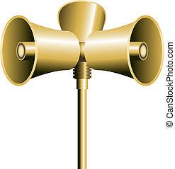 Loudspeaker Horn - Three loudspeaker or sirens on a pole....