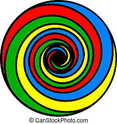 Basic Colors Spiral - Psychedelic spiral of basic colors