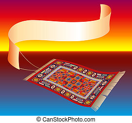 Magic Carpet with Banner - Illustration of a magic carpet...