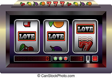 Slot Machine Love - Illustration of a slot machine with...