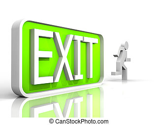 null - 3d illustration of a exit sign