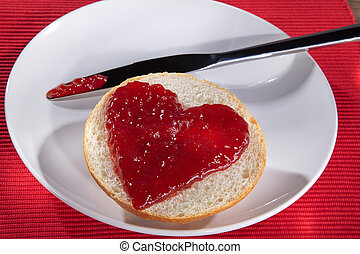 Roll with jam heart