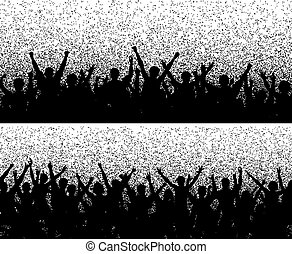 Grainy crowds - Two editable vector crowd silhouettes with...