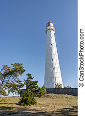 Lighthouse in Hiiumaa, Estonia - Tall white Tahkuna...