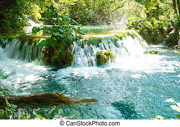 Plitvice Lakes, water cascade - Plitvice Lakes with green,...