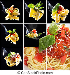 different noodles collage
