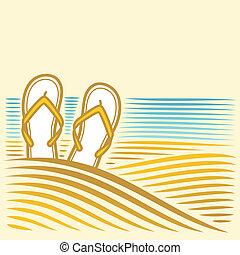 mar, paisagem, flip-flops