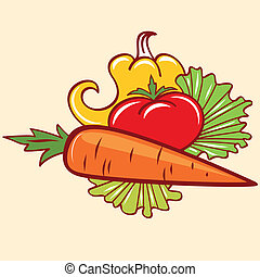 pepper tomato and carrot - bright fresh vegetables, pepper,...