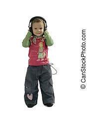 receiver - small young girl with headphones on the head