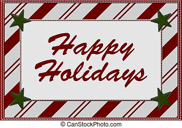 Happy Holidays - Candy Cane Striped Christmas Background...