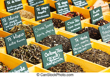 herbs and tea at counter