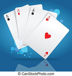 playing cards - four aces playing cards suits on blue. Image...