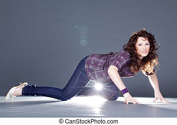 pretty woman in photo studio