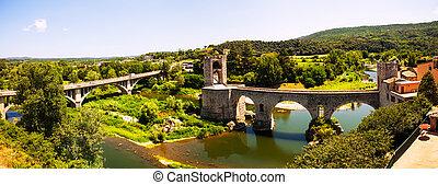 Panoramic view of two bridges in Besalu