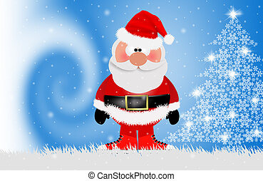 Santa Claus with gym shoe - illustration of Santa Claus with...
