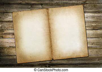 Old vintage paper on wooden grungy background