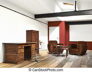interior wide loft, office and wooden floor