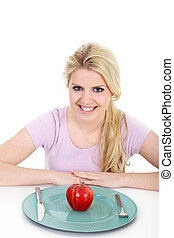 laughing woman with red apple
