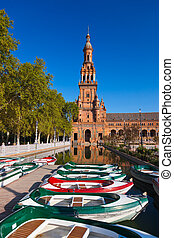 Palace at Spanish Square in Sevilla Spain