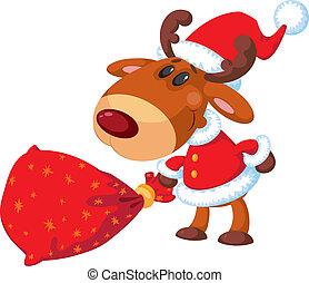 deer Santa with bag - illustration of a deer Santa with bag