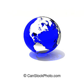 Blue planet - Transparent blue Earth with effectful lighting...