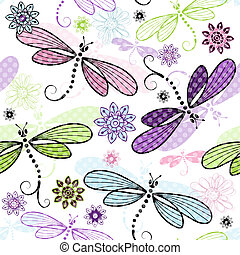Spring seamless floral pattern with dragonflies - Spring...
