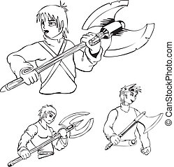 Anime warriors with poleaxe. Set of black and white outline...