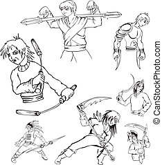 Anime warriors. Set of black and white outline vector...