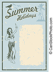 Summer Holidays sign - Illustration of a hula woman dancing