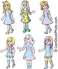 set of cute dolls