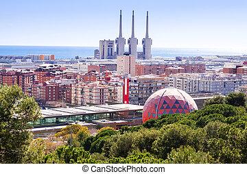 Top view of Badalona and Sant Adria de Besos Barcelona,...