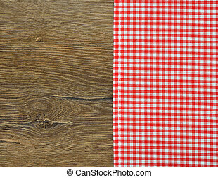 Red napkin on a brown background