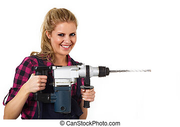 smiling young woman with drill